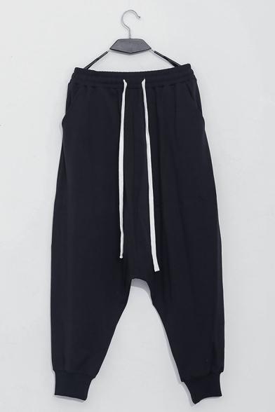 New Fashion Simple Plain Black Drawstring Waist Loose Drop-Crotch Harem Pants for Men