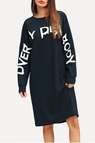 New Trend Round Neck Long Sleeve Letter Loose Casual Midi Shift Dress