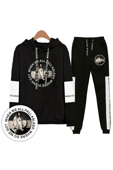 New Trendy Character Letters Print Patterns Long Sleeve Hoodie with Sweatpants Sport Two Piece Set, Color 1;color 2;color 3;color 4;color 5;color 6;color 7;color 8;color 9;color 10;color 11;color 12, LM556332