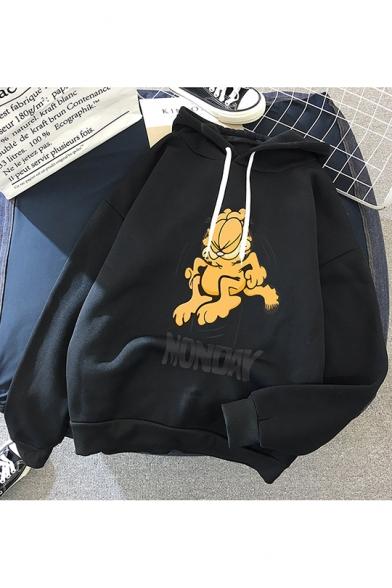 NONOAY Letter Cartoon Garfield Printed Long Sleeve Loose Hoodie