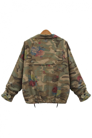 Notched Lapel Collar Army Green Camouflage Floral Printed Long Sleeve Short Jacket
