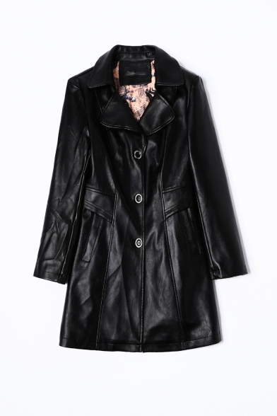 Notched Lapel Collar Gathered Waist PU Leather Longline Tailored Jacket Coat