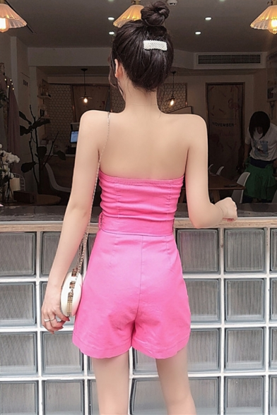 Personalized Plain Strapless Sleeveless Zip Up Belt Waist Bustier Romper with Pocket
