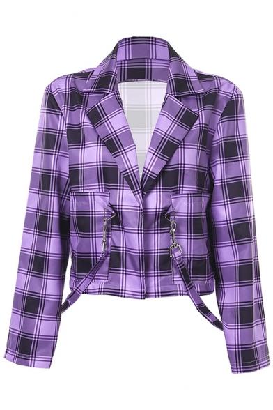 Purple Plaid Pattern Notched Lapel Collar Ribbon Embellished Cropped Blazer Jacket