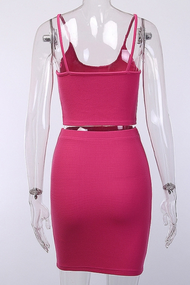 Sexy Straps Sleeveless Umbilical Tee with High Waist Ring Buckle Embellished Mini Skirt Pink Co-ords