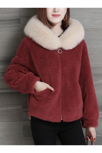 Simple Zippered Long Sleeves Fur-Trimmed Hood Faux Fur Coat with Pockets