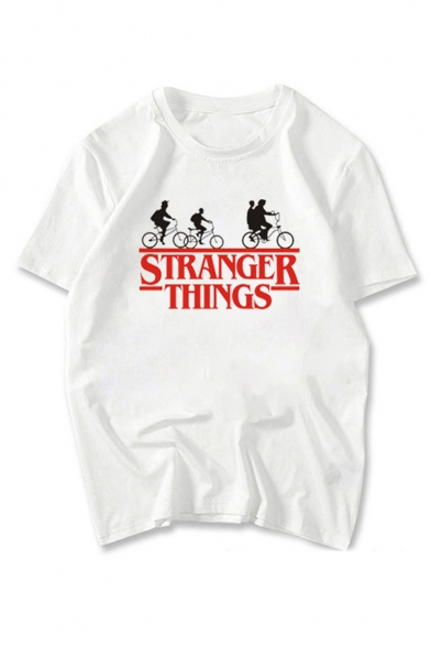 Stranger Things White Short Sleeve Round Neck Letter Printed Womens Chic T-Shirt, Color 1;color 2;color 3;color 4;color 5;color 6;color 7;color 8;color 9;color 10;color 11, LC551638