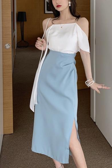 Stylish Blue High Waist Split Side Casual Loose Midi Straight Skirt
