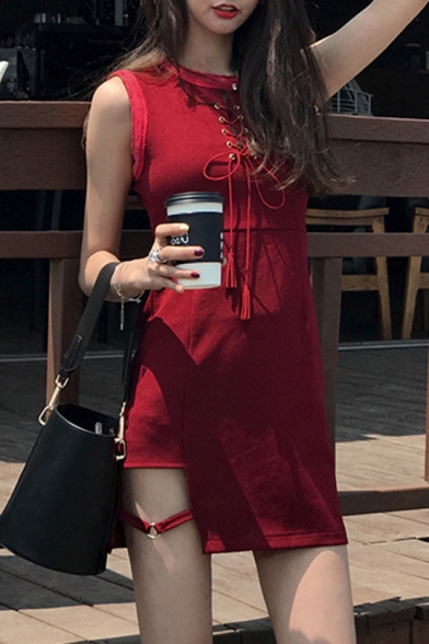 Summer Beach Round Neck Sleeveless Front tie Cut Out Plain Midi Asymmetrical Sheath Dress