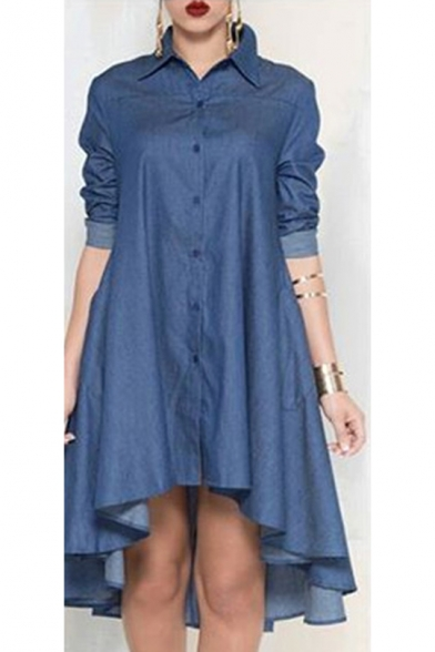Summer Retro Navy Lapel Collar Sleeveless Double Breasted Plain A-line Mini Dress