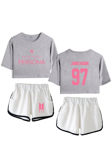 Summer's Casual Letters 97 Print BTS Idol Short Sleeve Crop Tee with Dolphin Shorts Co-ords