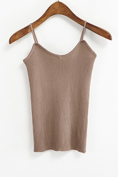 Summer Simple Plain Sleeveless V Neck Sexy Fitted Knitted Cami Top