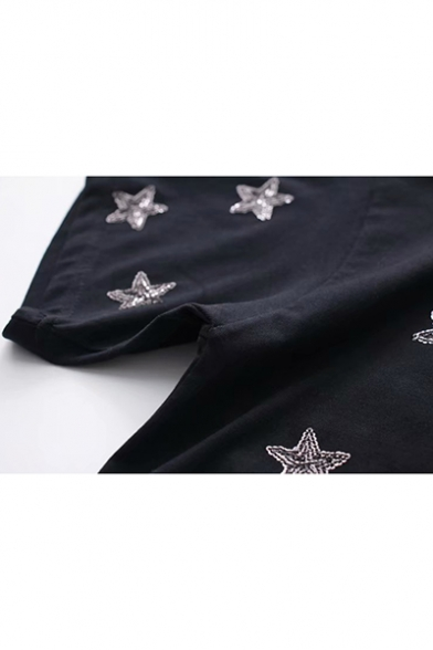 Sweet Chic Short Sleeve Round Neck Star Sequin Embroidered Lady Tee