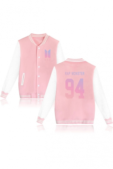 Trendy Kpop Logo Printed Rib Stand Collar Long Sleeve Button Down Baseball Jacket