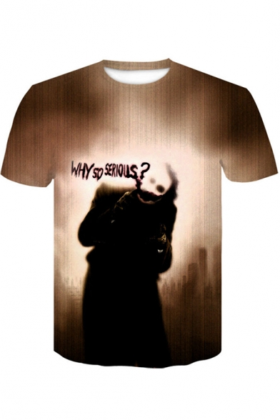 WHY SO SERIOUS Letter Joker Printed Mens Short Sleeve Round Neck Loose Pullover T-Shirt