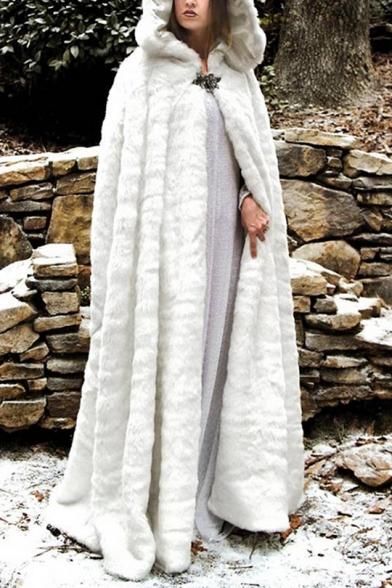 Winter New Fashion Plain Flano Single Button Floor Length Faux Fur Hooded Cloak Coat