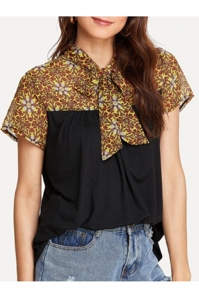 Women's Fashion Floral Patch Print Bow Front Short Sleeve Loose Black Blouse