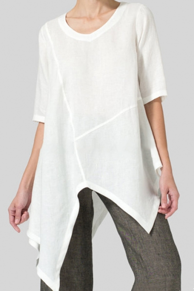 Women's Hot Fashion Simple Plain Half Sleeve Scoop Neck Asymmetric Hem Linen Tunic Shirt