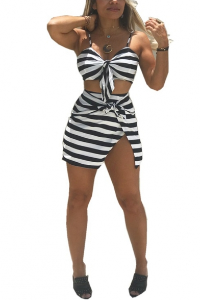 Women' Trendy Black Stripe Printed Bow-Tie Cami Top with Mini Skirt Two-Piece Co-ords, LM553122