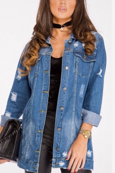 Womens Classic Blue Distressed Ripped Long Sleeve Button Down Denim Jacket Coat