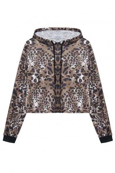 Womens Fancy Khaki Leopard Printed Long Sleeve Pullover Cropped Hoodie