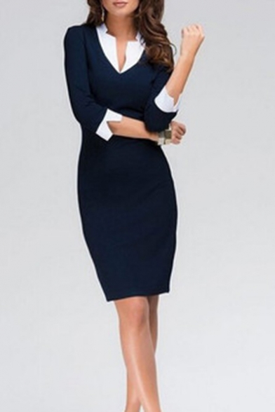 Womens Hot Fashion V-Neck Half Sleeve White Detached Cuff Sheath Pencil Midi Dress