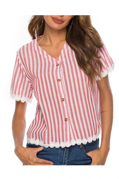 Womens Hot Popular Stripe Printed V-Neck Short Sleeve Button Down Lace Patched Red Shirt Blouse