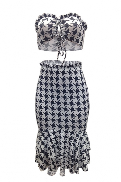 Womens New Stylish Black and White Printed Crop Bandeau Top with Midi Fitted Ruffle Skirt Two-Piece Set