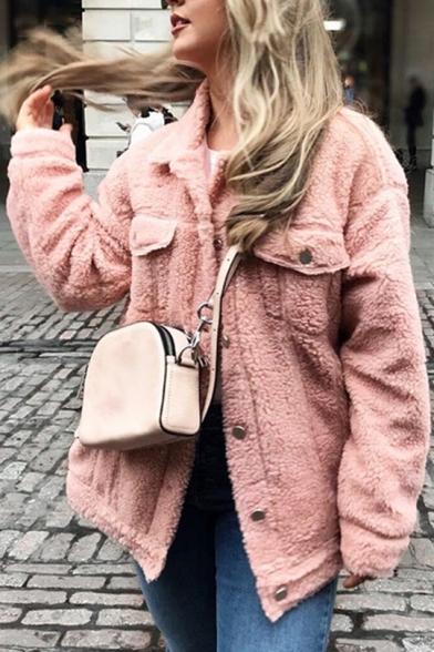 Womens New Stylish Simple Plain Lapel Collar Long Sleeve Button Down Faux Fur Teddy Jacket