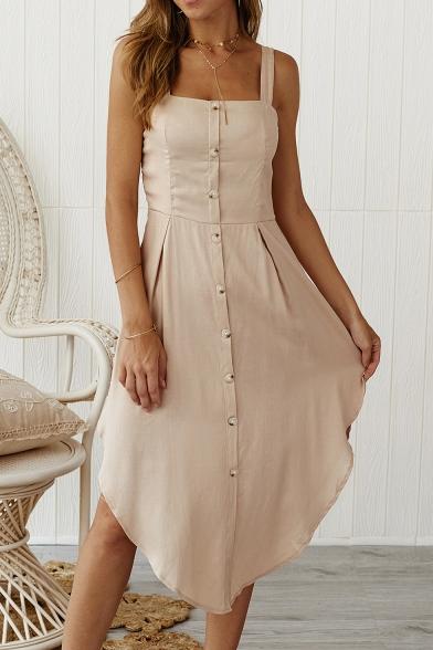 Womens Plain Sleeveless Button Front Asymmetrical Strap Dress, LC554008, Black;pink;white;khaki;navy