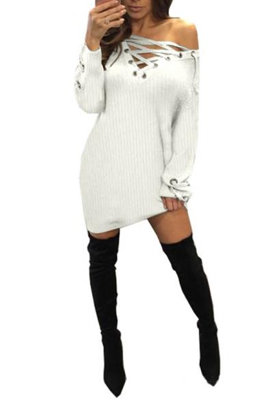 Womens Sexy V-Neck Long Sleeve Tied Knit Plain Sheath Mini Dress