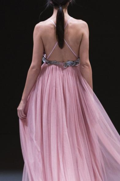 Womens Sexy V-Neck Sleeveless Appliques Backless Pink Chiffon A-Line Cami Maxi Dress