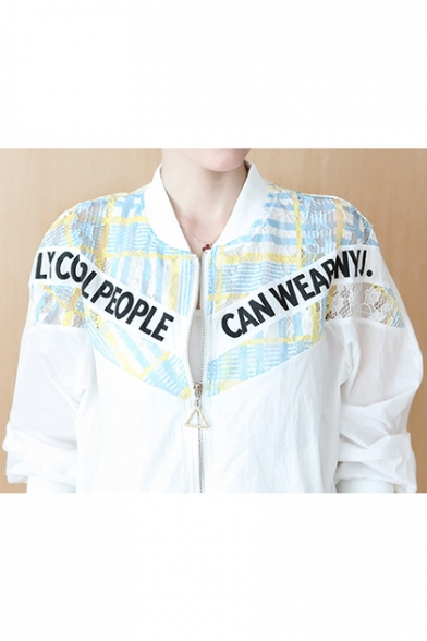 Womens Stylish Cartoon Letter Smile Face Printed Stand Collar Long Sleeve Zip Up Crop Jacket