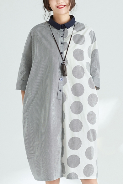 Womens Summer Fashion Lapel Collar Half Sleeve Panelled Polka Dot Button Up Loose Shirt Shift Midi Dress