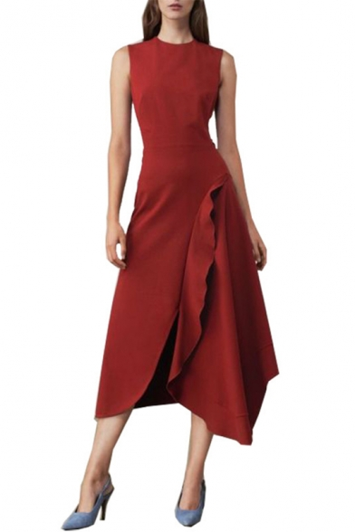 Womens Summer Round Neck Sleeveless Ruffles Plain Asymmetrical A-Line Maxi Dress