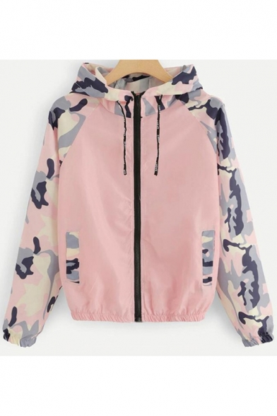 Womens Trendy Camo Patched Long Sleeve Zip Up Hooded Track Jacket Coat