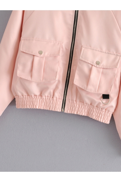Womens Trendy Stand Collar Long Sleeve Flap Pocket Front Zip Up Motor Jacket