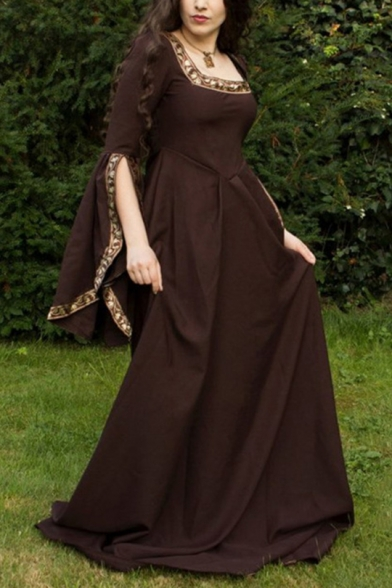 Womens Vintage Cosplay Costume Square Neck Split Bell Sleeve Brown Maxi Fit and Flared Swing Dress