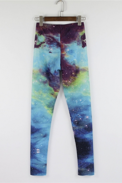 Blue-Green Starry Sky Print Full Length Elastic Leggings