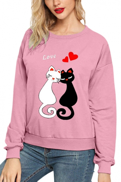 Cute Cat Love Letter Printed Long Sleeve Round Neck Pullover Sweatshirt