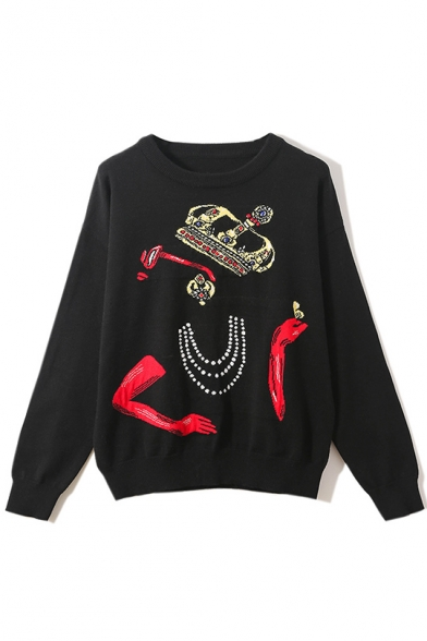 Fashion Diamond Print Round Neck Long Sleeve Knitwear Sweater for Women LM558541 фото
