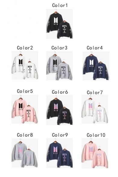 Fashion Kpop Logo Printed Mock Neck Long Sleeve Pullover Casual Sweatshirt