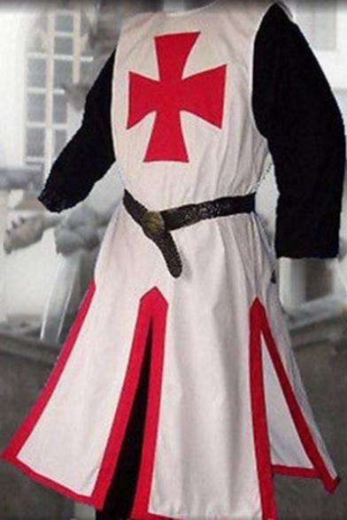 Four-Leaf Clover Logo Print Gathered Waist Color Block Split Side Perform Cosplay Costume Coat
