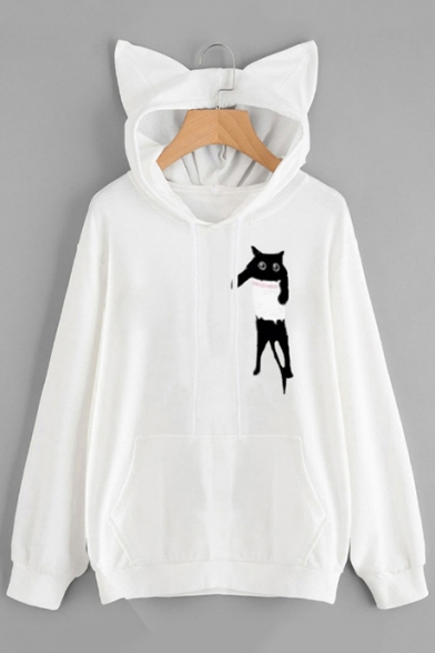 Funny Cartoon Pocket Cat Chest Ear Hood Long Sleeve Casual Pullover Hoodie