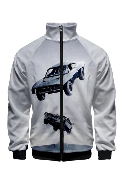 Hot Fashion 3D Car Pattern Stand Collar Long Sleeve White Baseball Jacket