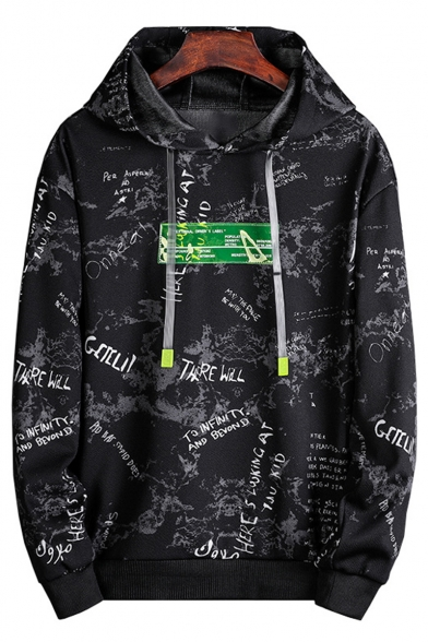Hot Fashion Camouflage Letter Printed Long Sleeve Casual Loose Fit Drawstring Hoodie