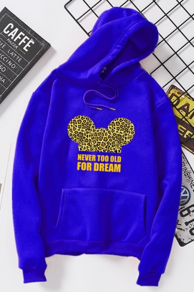 Hot Fashion Cartoon Leopard Letter NEVER TOO OLD FOR DREAM Printed Long Sleeve Unisex Pullover Hoodie