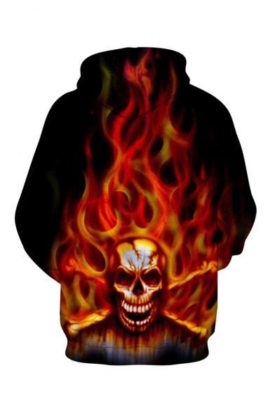 Hot Fashion Cool Fire Skull 3D Printed Long Sleeve Loose Fit Pullover Drawstring Hoodie in Black