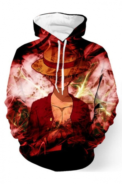Hot Popular One Piece Comic Character 3D Printed Long Sleeve Red Loose Hoodie