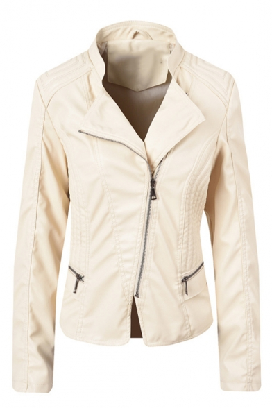 Lady Fashion Plain Lapel Collar Long Sleeve Zip Front PU Motorcycle Jacket